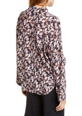 Vince Floral Micropleat Long Sleeve Silk Shirt