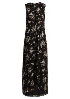 Vince Floral-print round-neck silk-crepe dress