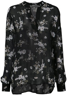 Vince floral print sheer blouse - Black