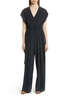 Vince Flutter Sleeve Open Back Silk Jumpsuit