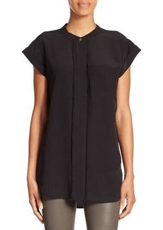 Vince Frayed Silk Blouse