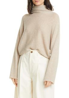 Vince Fringe Sleeve Turtleneck Sweater