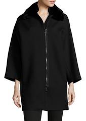 Vince Rabbit Fur Collar Coat