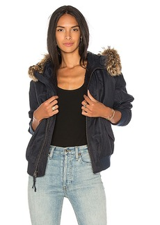 Vince Fur Trim Bomber in Navy. - size M (also in S,XS)