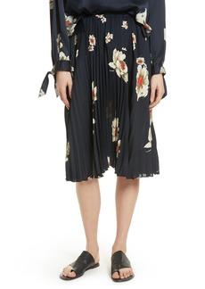 Vince Gardenia Floral Pleated Skirt