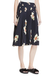 Vince Gardenia Floral-Print Pleated Seamed Midi Skirt