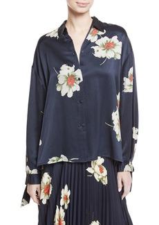 Vince Gardenia Floral-Print Tie-Sleeve Silk Blouse