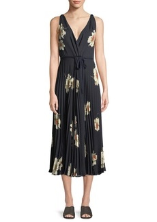 Gardenia Floral-Print Twist-Front Pleated Dress