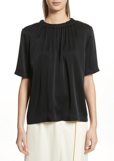 Vince Gathered Neck Short Sleeve Top