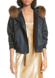 Vince Genuine Coyote Fur Trim Bomber Jacket