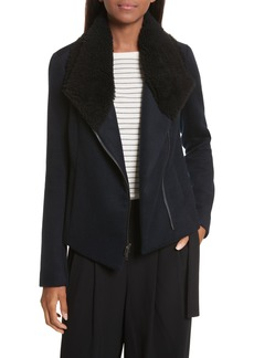 Vince Genuine Shearling Trim Scuba Jacket