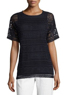 Vince Geometric Lace Short-Sleeve Top