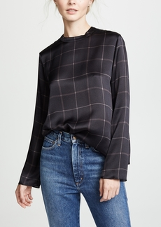 Vince Grid Plaid Mockneck Blouse