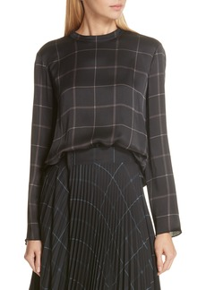 Vince Grid Plaid Silk Blouse