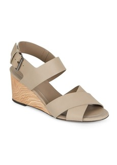 Vince Gwyn Leather Slingback Wedge Sandals