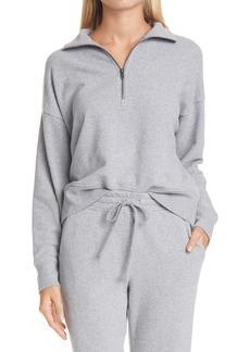 Vince Half-Zip Cotton Blend Sweatshirt