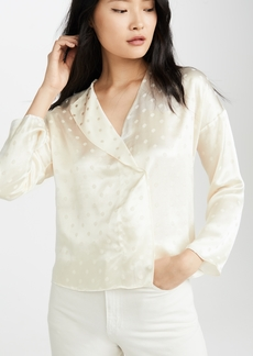 Vince Halo Dot Drape Blouse