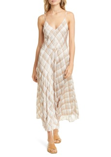 Vince Hazy Plaid Midi Slipdress