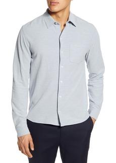 Vince Heathered Button-Up Piqué Shirt