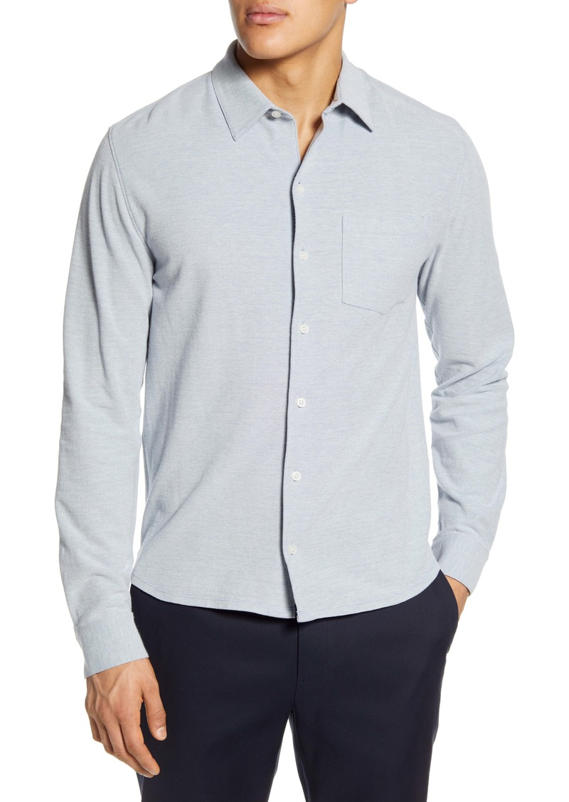 Vince Heathered Button-Up Piqué Shirt