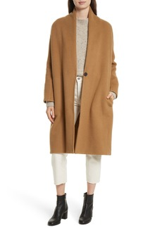 Vince High Collar Long Wool Blend Coat