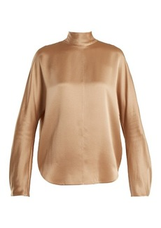 Vince High-neck silk crepe de Chine blouse
