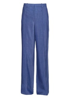 Vince High-rise wide-leg chambray trousers