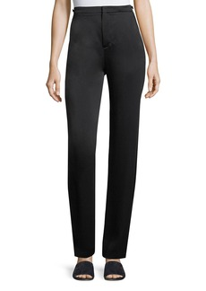 Vince High-Waist Straight-Leg Satin Pants