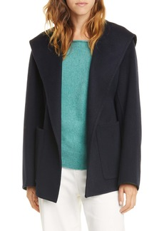 Vince Hooded Tie Waist Wool & Cashmere Coat