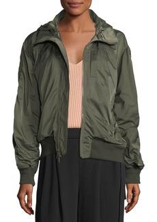 Vince Hooded Zip-Front Bomber Jacket