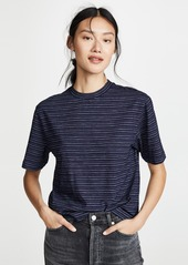 Vince Indigo Stripe Wide Sleeve Crop T-Shirt