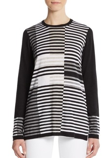 Vince Intarsia Striped Knit Sweater
