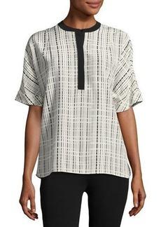 Vince Interlace-Print Rolled-Sleeve Silk Tunic