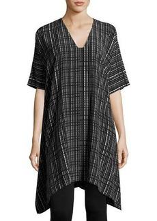 Vince Interlace-Print V-Neck Silk Poncho Dress