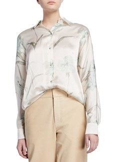 Vince Iris-Print Long-Sleeve Silk Blouse