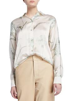 Vince Iris-Print Long-Sleeve Silk Blouse