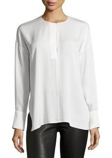 Vince Keyhole-Front Long-Sleeve Silk Blouse