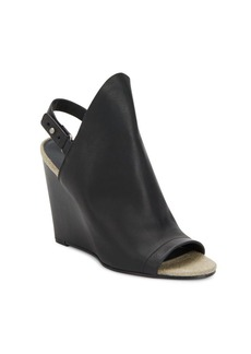 Vince Kostel Leather Ankle Strap Wedge Sandals