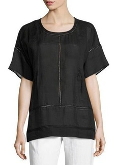 Vince Lace-Inset Woven Tee