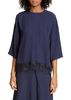 Vince Lace Trim Crepe Top