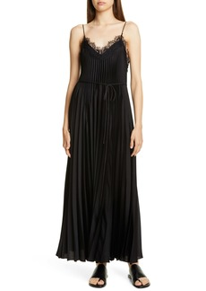 Vince Lace Trim Pleated Satin Dress