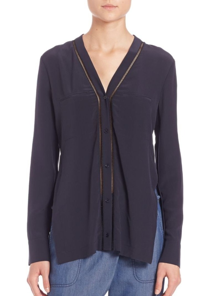 Vince Ladder-Stitch Silk Top