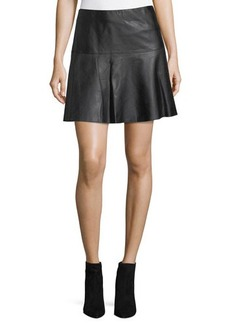 Vince Lamb Leather Pleated Skirt