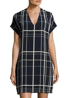 Vince Lattice-Print Silk Shirtdress