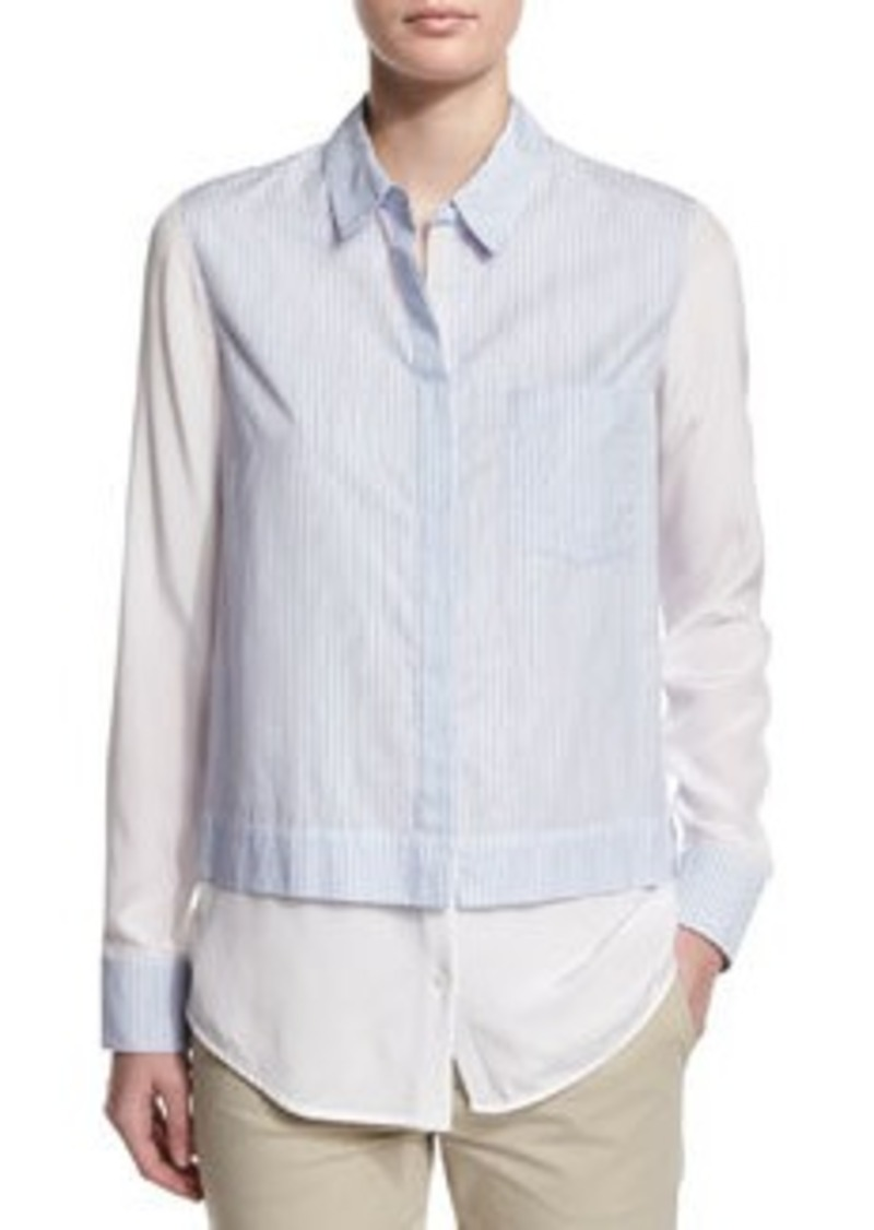 Vince Layered Striped Button-Down Shirt