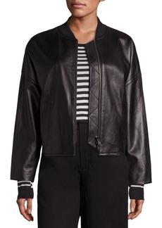 Vince Leather Drop Shoulder Bomber Jacket