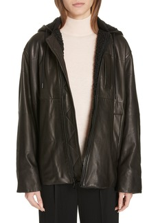 Vince Leather Faux Fur Lined Hooded Jacket