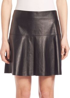 Vince Leather Flared Hem Skirt