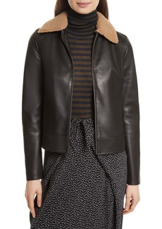Vince Leather Jacket with Genuine Shearling Trim