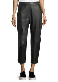 Vince Leather Single-Pleat Cropped Pants